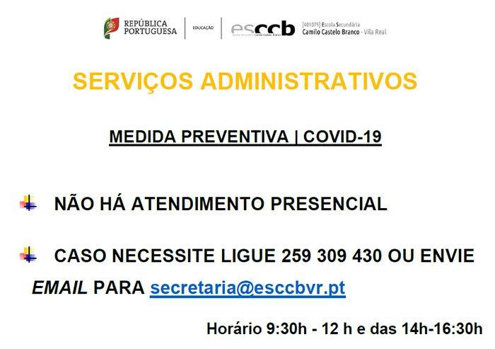 Serviços Administrativos – Medida preventiva | COVID-19