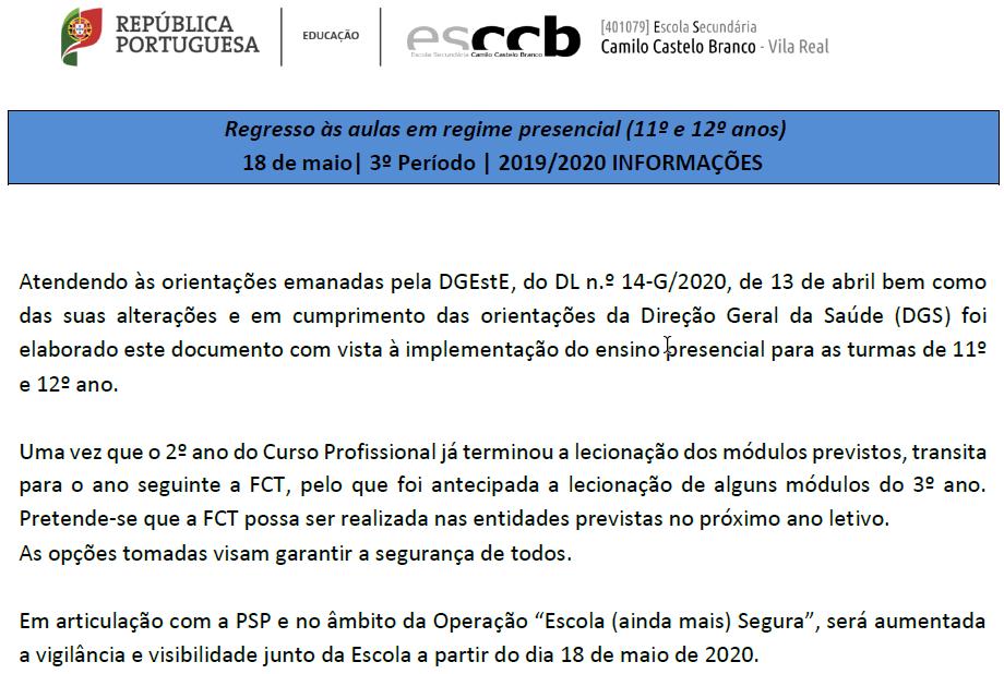 Plano ESCCB – Aulas presenciais – 11º ano e 12º ano