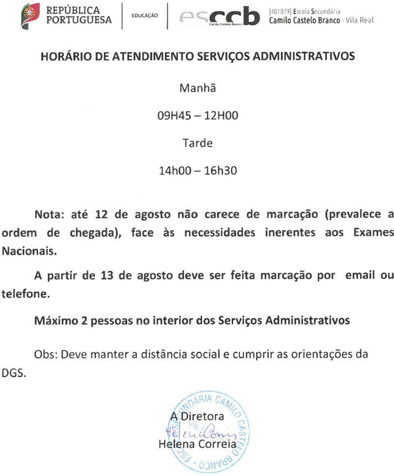 Horário de atendimento Serviços administrativos