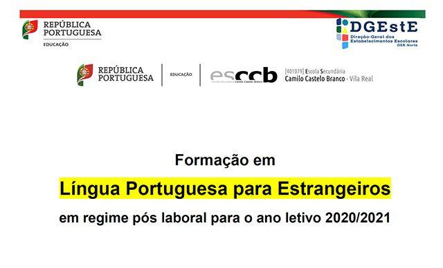 Formação em Língua Portuguesa para Estrangeiros | Regime pós laboral | Ano letivo 2020/2021