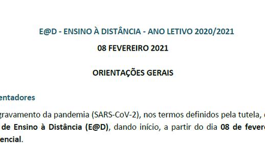 Plano E@D – Ensino à distância – Ano letivo 2020/2021