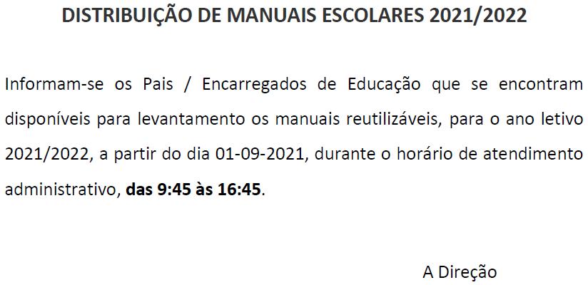 Distribuição de Manuais Escolares 2021/2022
