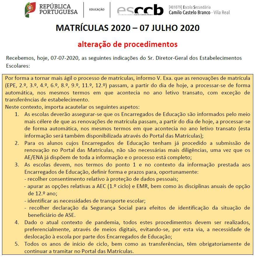 MATRÍCULAS 2020 – 07 JULHO 2020 | Alteração de procedimentos