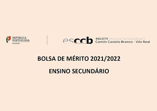 Bolsa de Mérito 2021/2022   Ensino Secundário